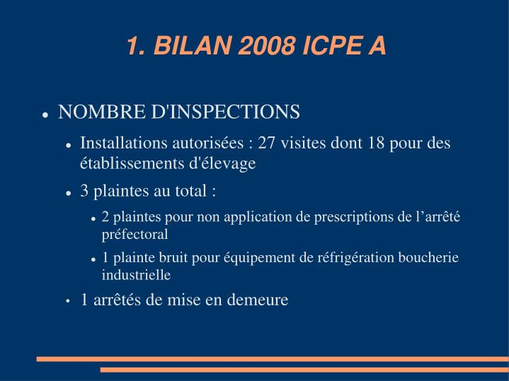 1. BILAN 2008 ICPE A