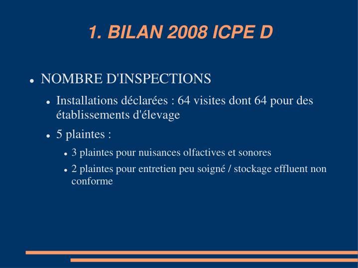 1. BILAN 2008 ICPE D