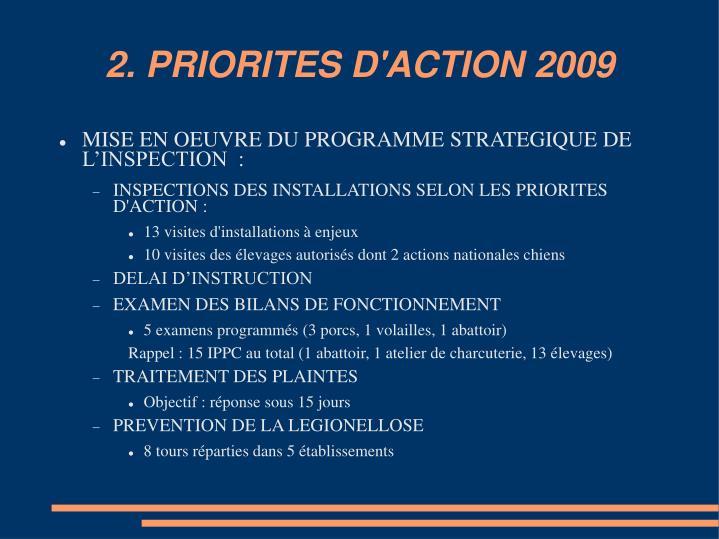 2. PRIORITES D'ACTION 2009