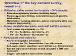 overview of the key content survey round one