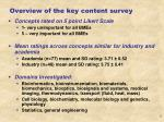 overview of the key content survey