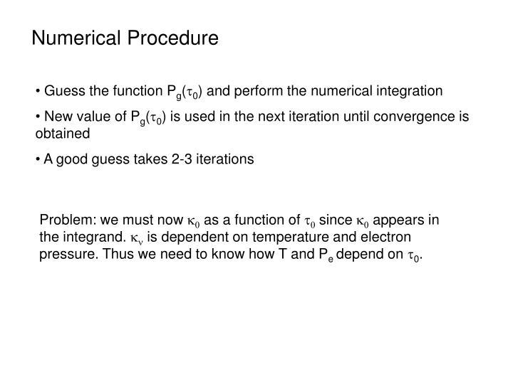 Numerical Procedure