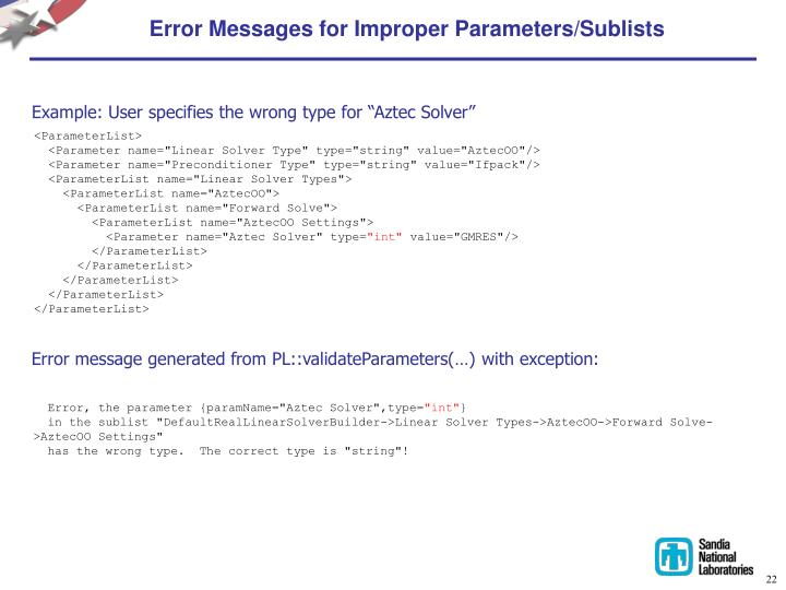 Error Messages for Improper Parameters/Sublists