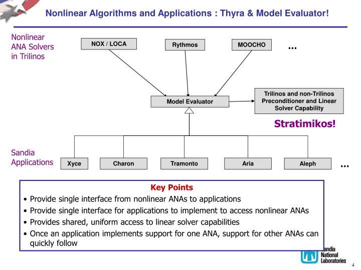 Nonlinear Algorithms and Applications : Thyra & Model Evaluator!