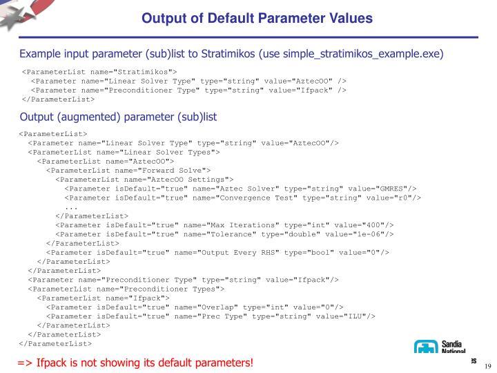 Output of Default Parameter Values