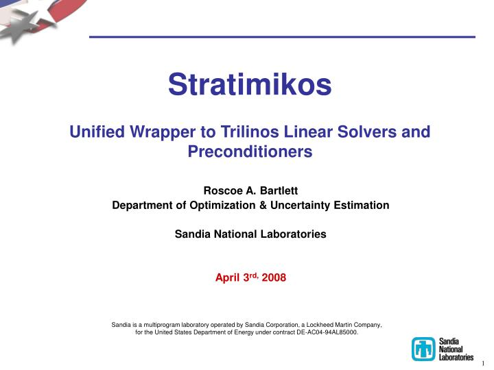 Stratimikos unified wrapper to trilinos linear solvers and preconditioners