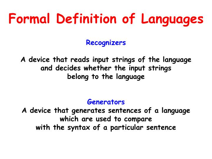 Formal Definition of Languages