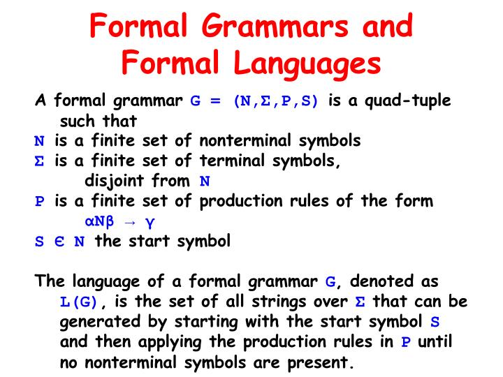 Formal Grammars and