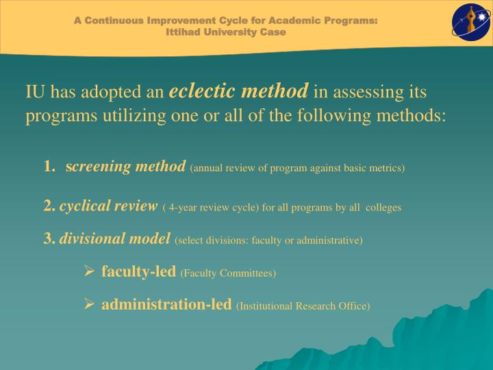 A Continuous Improvement Cycle for Academic Programs: