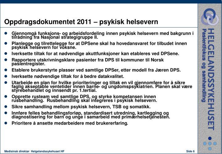 Oppdragsdokumentet 2011 – psykisk helsevern