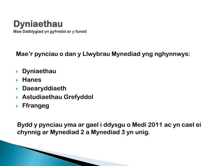 Dyniaethau