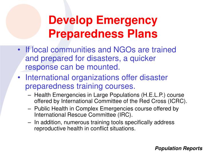 Develop Emergency Preparedness Plans