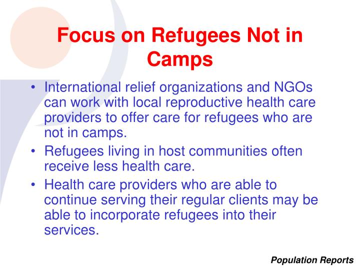 Focus on Refugees Not in Camps