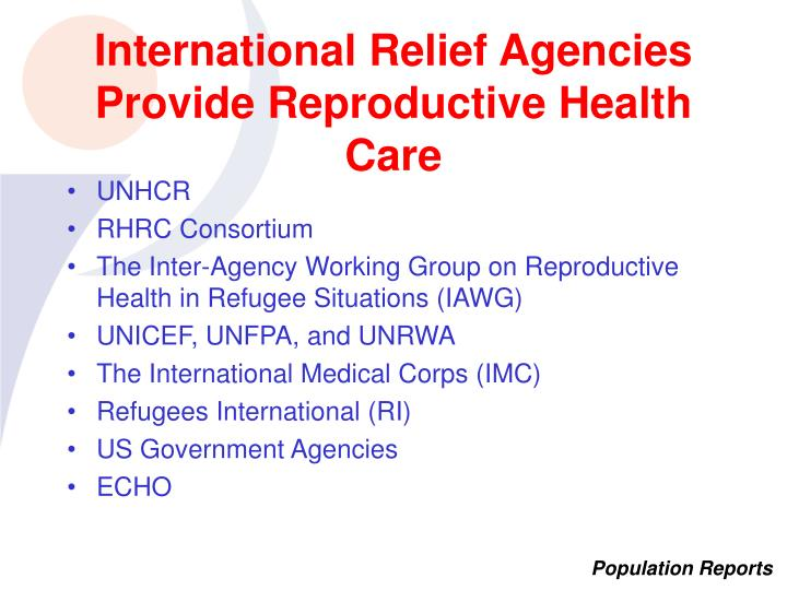 International Relief Agencies Provide Reproductive Health Care
