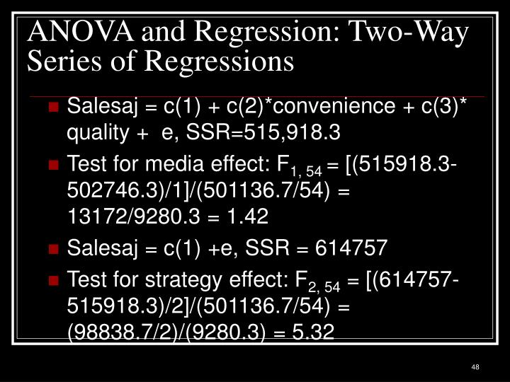 ANOVA and Regression: Two-Way