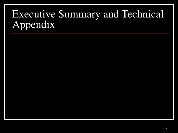 Executive Summary and Technical Appendix