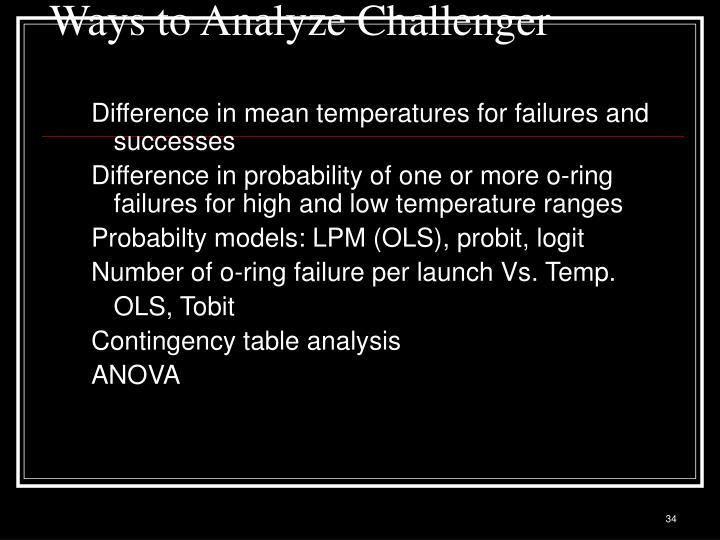 Ways to Analyze Challenger