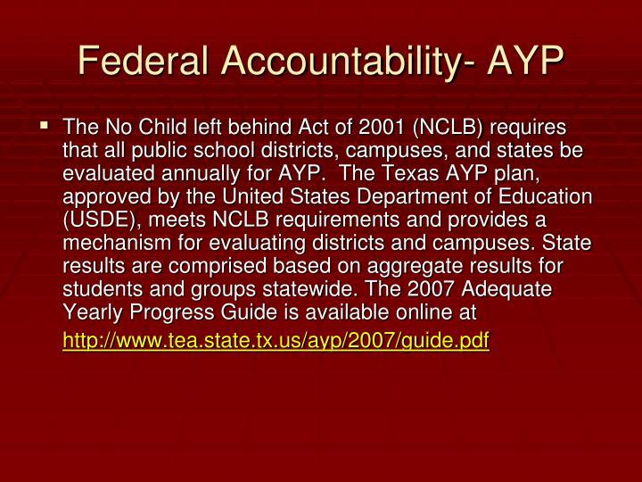 Federal Accountability- AYP