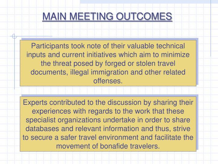 MAIN MEETING OUTCOMES