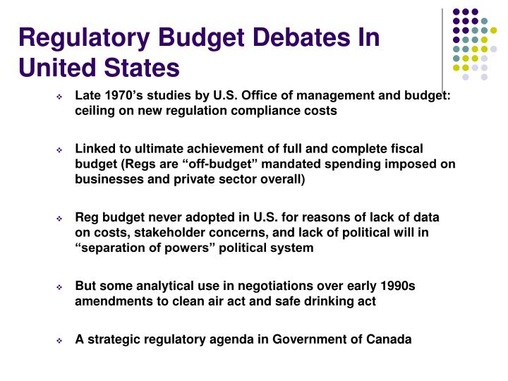 Regulatory Budget Debates In United States