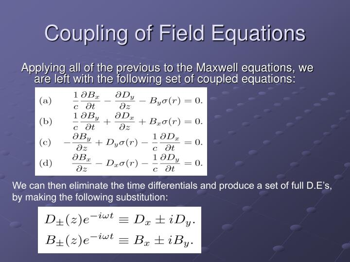 Coupling of Field Equations