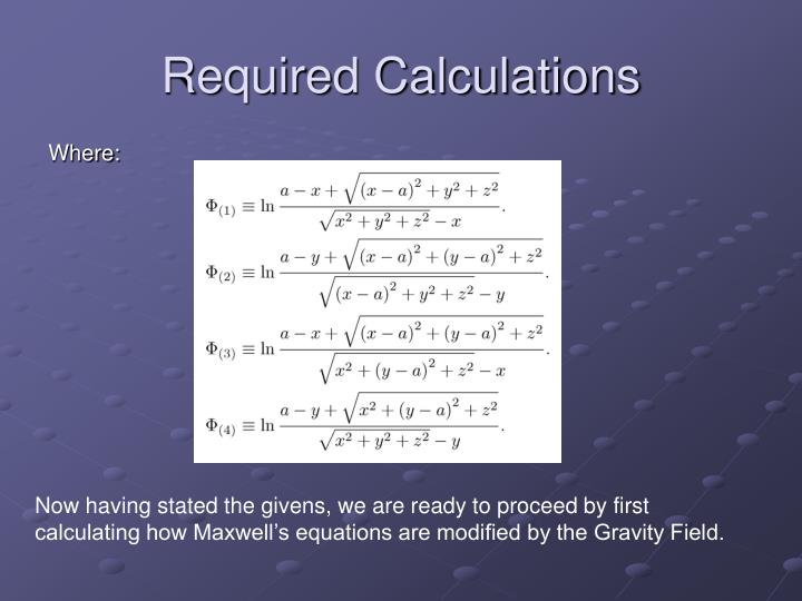 Required Calculations