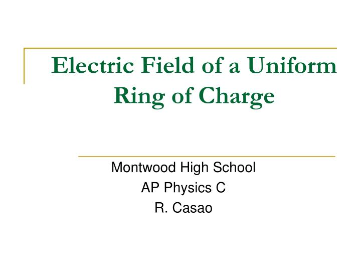 Electric field of a uniform ring of charge