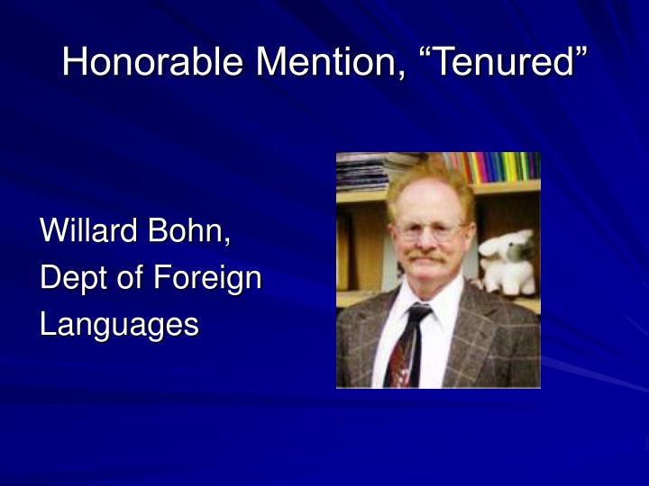 """Honorable Mention, """"Tenured"""""""