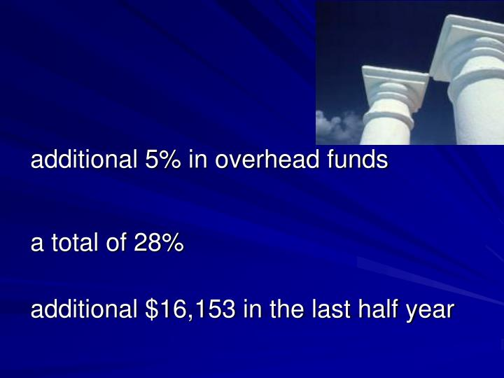 additional 5% in overhead funds