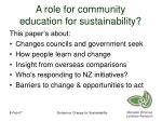 a role for community education for sustainability