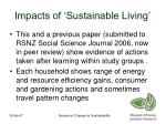 impacts of sustainable living