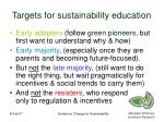 targets for sustainability education