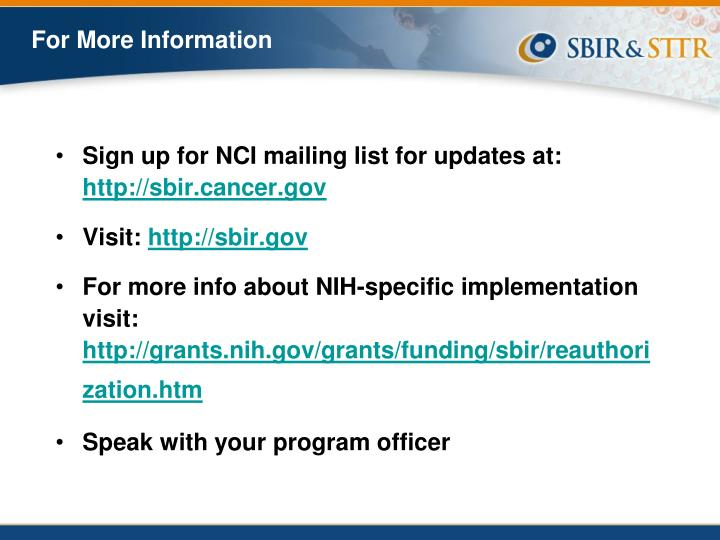 Sign up for NCI mailing list for updates at: