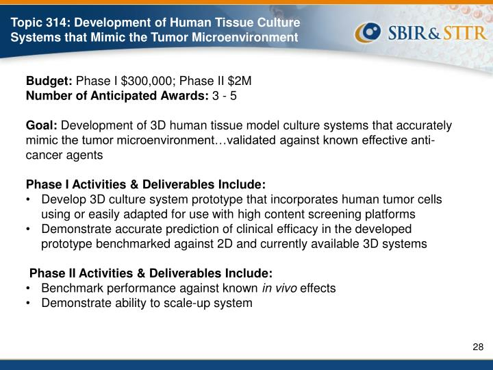 Topic 314: Development of Human Tissue Culture Systems that Mimic the Tumor Microenvironment