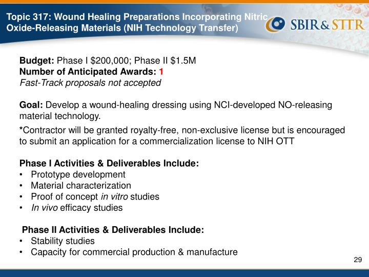 Topic 317: Wound Healing Preparations Incorporating Nitric Oxide-Releasing Materials (NIH Technology Transfer)