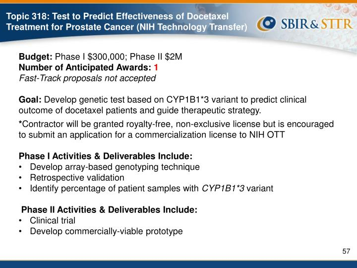 Topic 318: Test to Predict Effectiveness of Docetaxel Treatment for Prostate Cancer (NIH Technology Transfer)