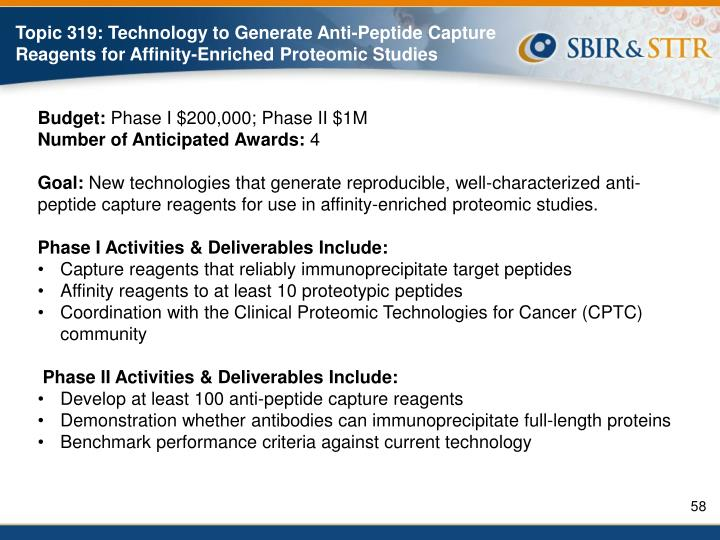 Topic 319: Technology to Generate Anti-Peptide Capture Reagents for Affinity-Enriched Proteomic Studies
