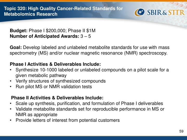 Topic 320: High Quality Cancer-Related Standards for Metabolomics Research