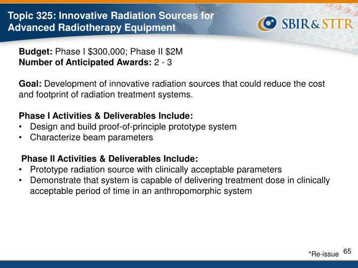 Topic 325: Innovative Radiation Sources for Advanced Radiotherapy Equipment