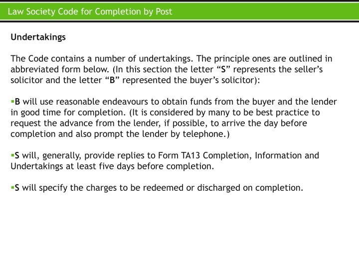 Law Society Code for Completion by Post