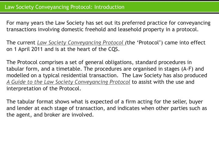 Law Society Conveyancing Protocol: Introduction