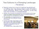two cultures in a changing landscape the school2