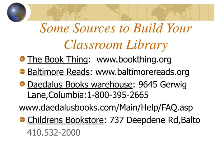 Some Sources To Build Your Classroom Library