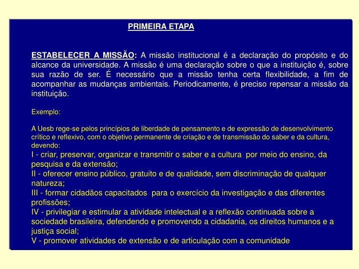 PRIMEIRA ETAPA