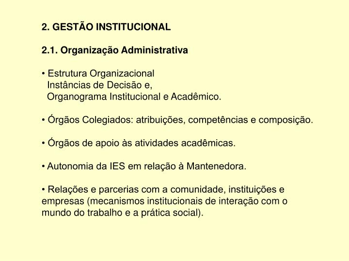 2. GESTÃO INSTITUCIONAL