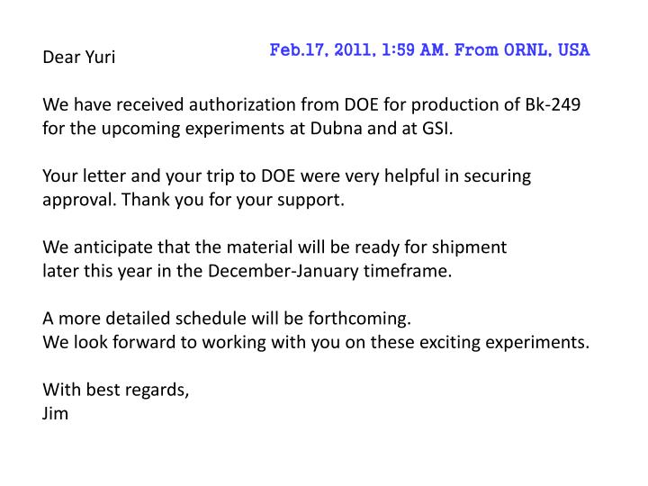 Feb.17, 2011, 1:59 AM. From ORNL, USA