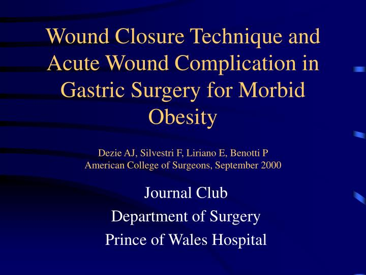 Ppt Journal Club Department Of Surgery Prince Of Wales