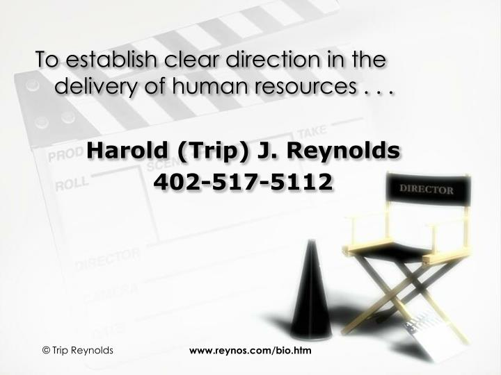 To establish clear direction in the delivery of human resources . . .