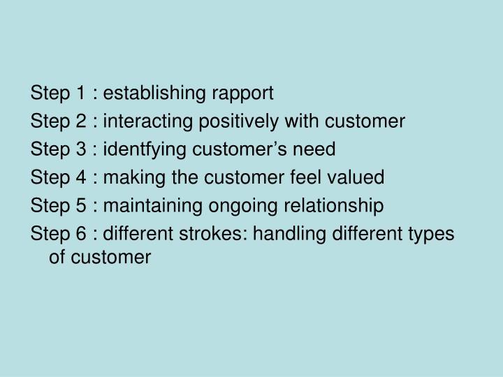 Step 1 : establishing rapport