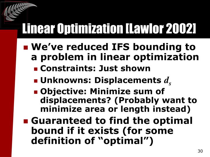 linear optimization Tutorial: using excel for linear optimization problems part 1: organize your information there are three categories of information needed for solving an.